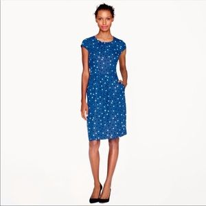 J.Crew Silk dot dress with cap sleeves